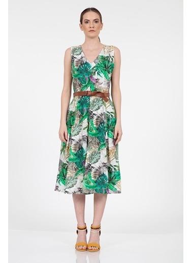 Vitrin Yaprak Desenli Belde Kemer Detaylı Elbise Yeşil